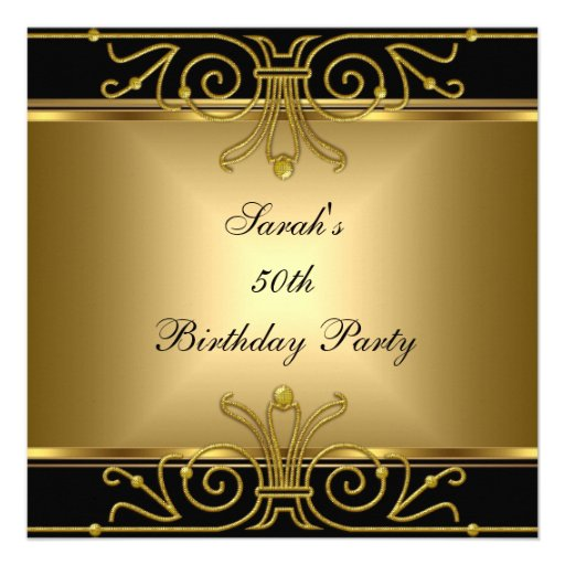 Elegant 50th Birthday Gold Black Art Deco 5.25x5.25 Square