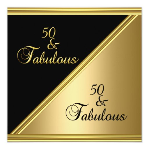 Fab 50 People: Elegant 50th Birthday Party Black Gold Floral Card