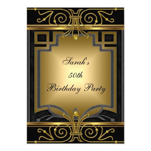 Elegant 50th Birthday Party Gold Black Art Deco Card