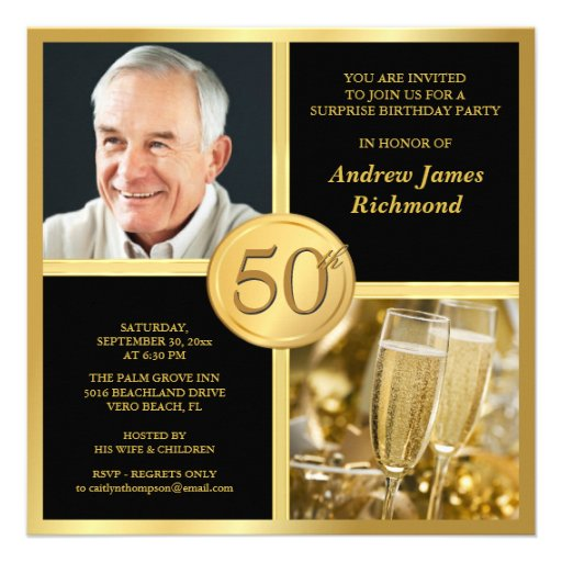 Personalized 50th Birthday Party Men Gold Invitations