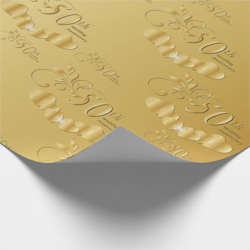 Wedding Gift Paper: Elegant 50th Golden Wedding Anniversary Wrapping Paper