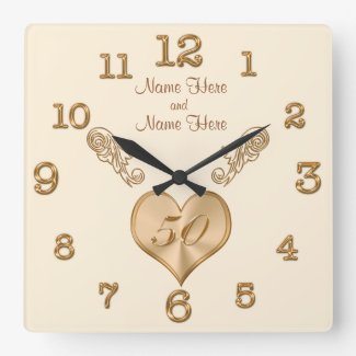 Elegant 50th Wedding Anniversary Clock with NAMES Square Wallclocks