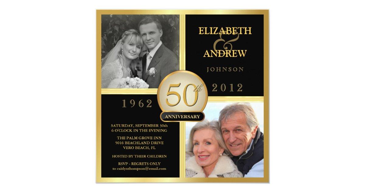 50th Wedding Anniversary Invitations With Photos: Elegant 50th Wedding Anniversary Photo Invitations