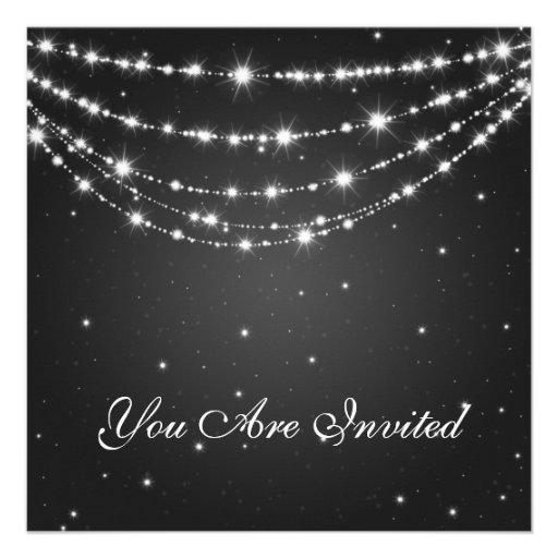 Elegant 60th Birthday Party Sparkling Chain Black Custom Invites