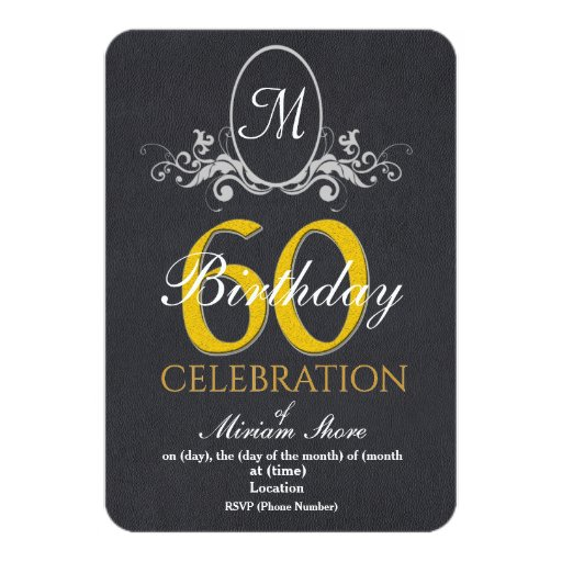 Elegant 60th Birthday Party Texture Background Card | Zazzle