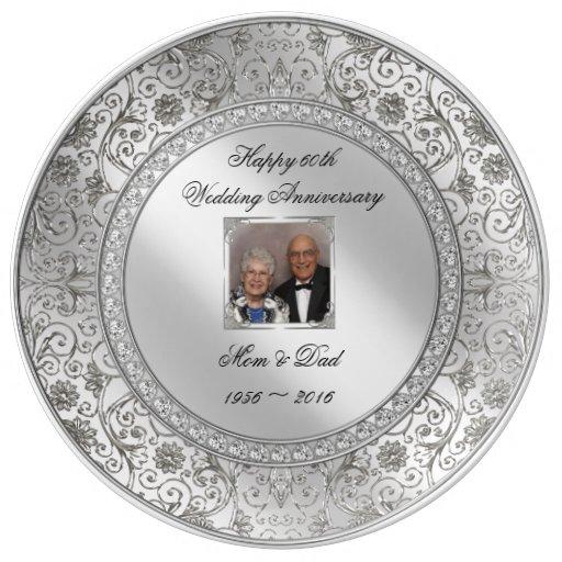 Elegant 60th Wedding Anniversary Porcelain Plate Zazzle