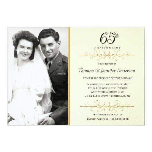 Elegant 65th Anniversary Invitations With Photo