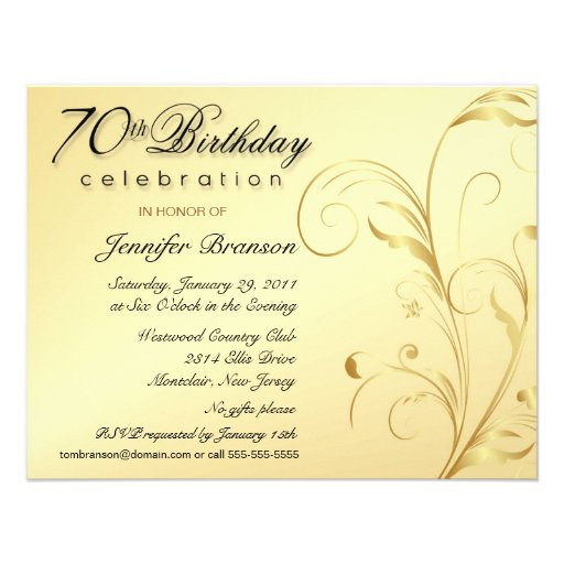 "Elegant 70th Birthday Surprise Party Invitations 4.25"" X 5"