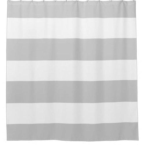 Elegant And Classy Light Grey White Stripes Shower Curtain