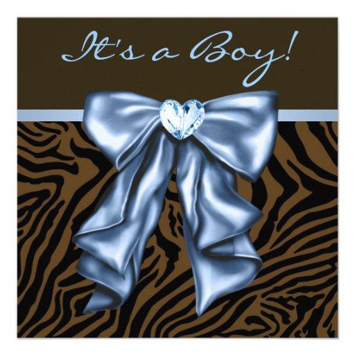 Elegant Baby Blue Zebra Baby Boy Shower Personalized ...