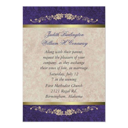 Elegant Purple Wedding Invitations: Elegant Beige And Purple Wedding Invitation