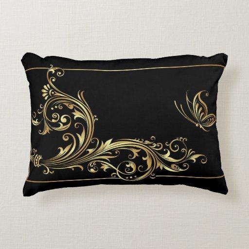 elegant black and gold accent pillow zazzle. Black Bedroom Furniture Sets. Home Design Ideas