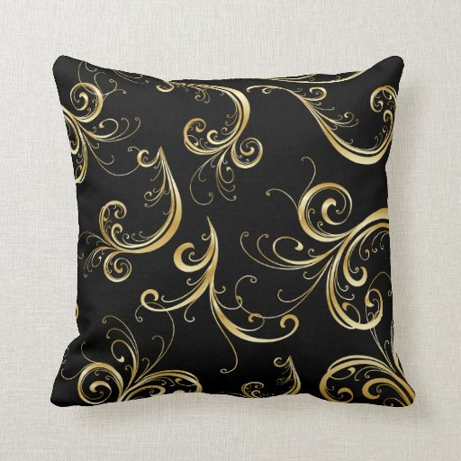 elegant black and gold floral pattern throw pillow zazzle. Black Bedroom Furniture Sets. Home Design Ideas