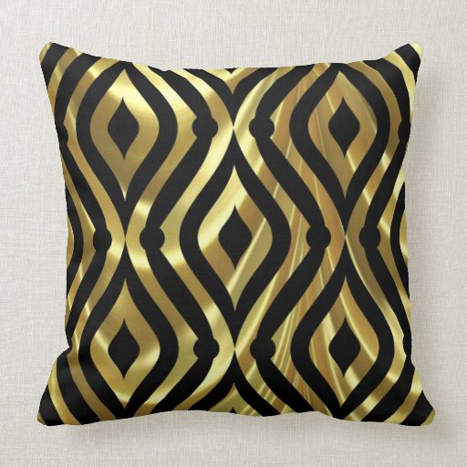 elegant black and gold geometric pattern pillows zazzle. Black Bedroom Furniture Sets. Home Design Ideas