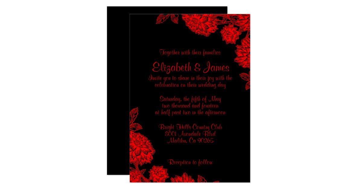 Wedding Invitations Red And Black: Elegant Black And Red Wedding Invitations