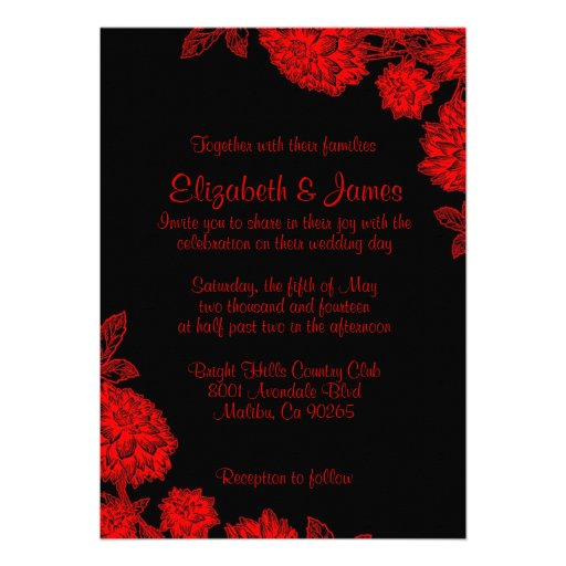 Wedding Invitations Red White And Black: Elegant Black And Red Wedding Invitations Custom