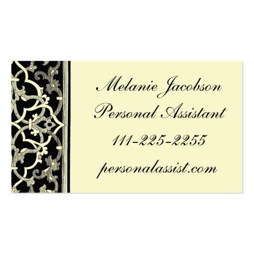 elegant black brocade border business card  zazzle