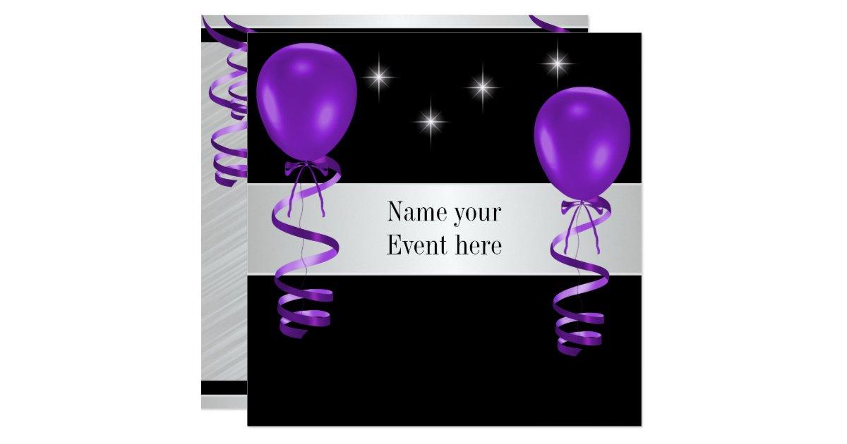 Elegant Black Purple Balloons Special Event Card | Zazzle - photo#20