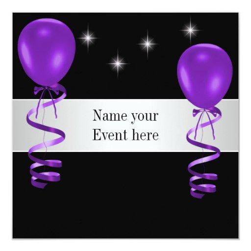 Elegant Black Purple Balloons Special Event Invitation ... - photo#7