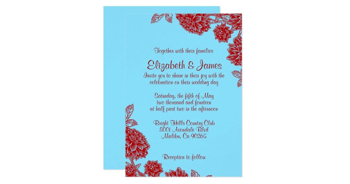 Red White And Blue Wedding Invitations: Elegant Blue And Red Wedding Invitations