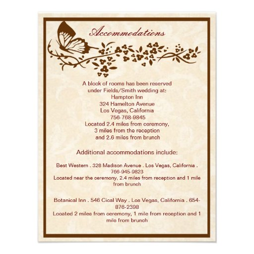 "Elegant Butterfly Wedding Enclosure Cards 4.25"" X 5.5"