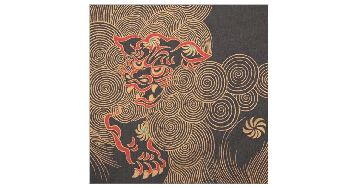 Elegant Chinese Dragon Print Fabric Zazzle