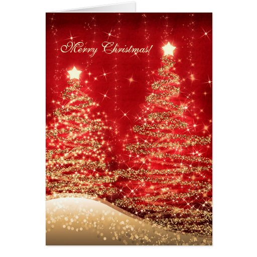 Sophisticated Christmas Tree: Elegant Christmas Cards Sparkling Trees Red