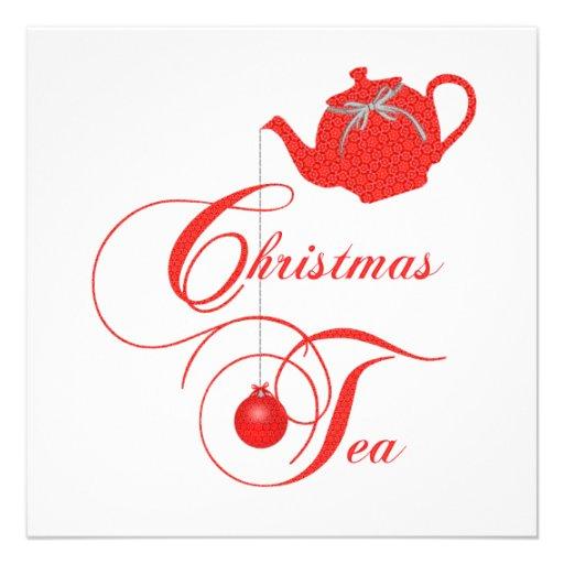 "Christmas Tea Party Ideas: Elegant Christmas Tea 5.25"" Square Invitation Card"