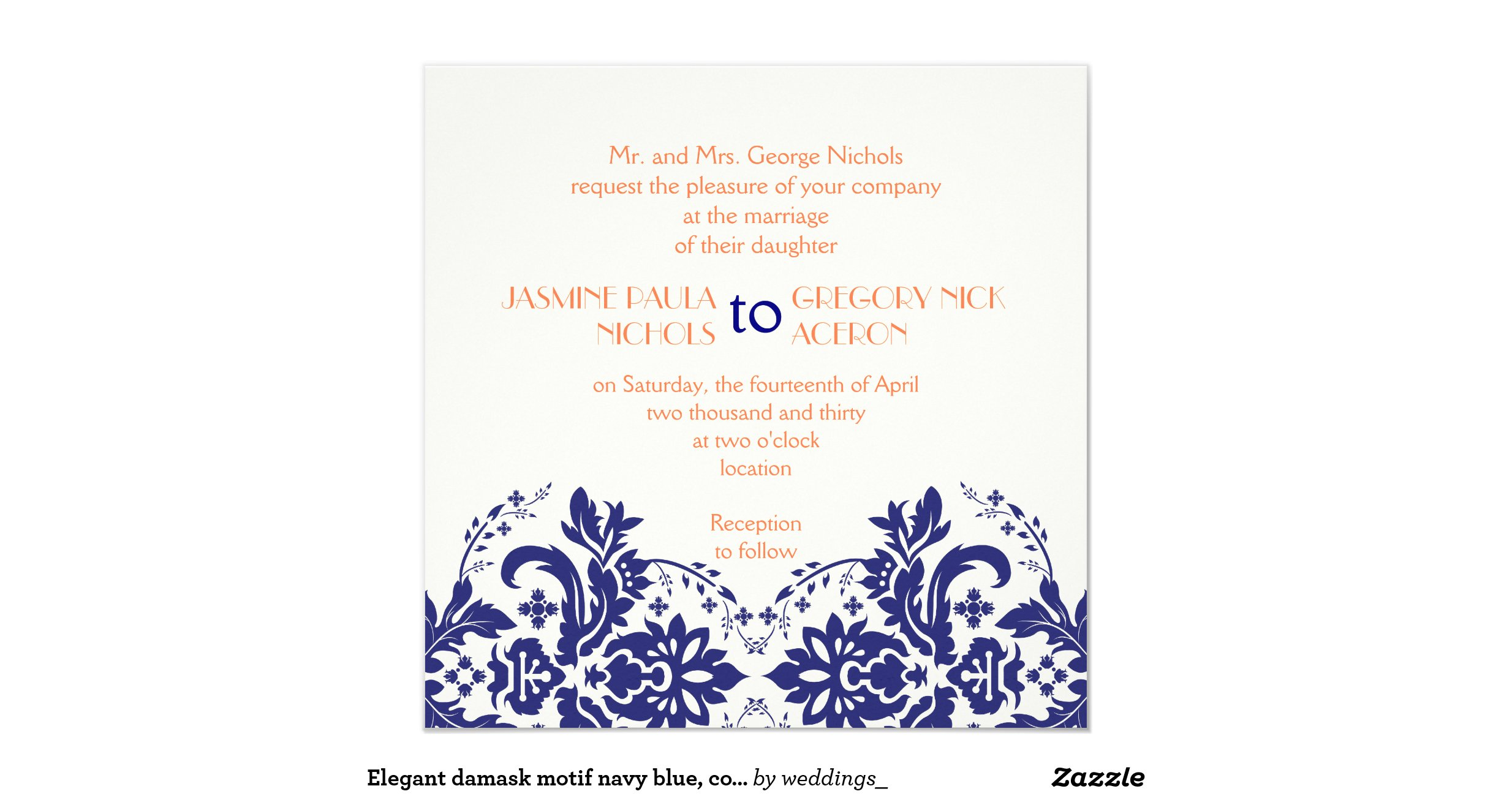 Blue And Coral Wedding Invitations: Elegant_damask_motif_navy_blue_coral_wedding_invitation