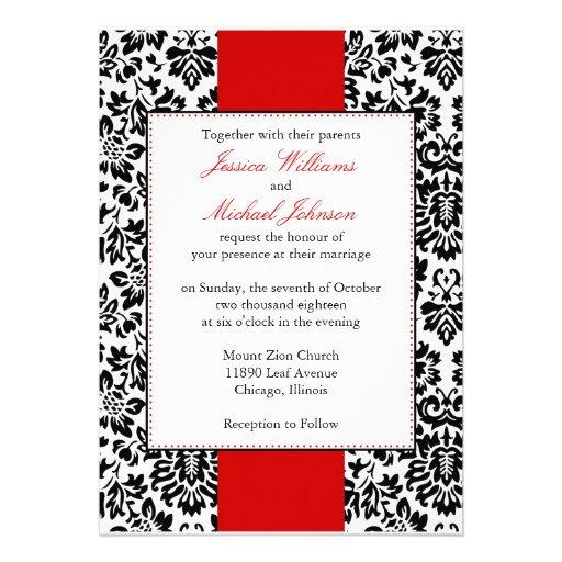 "Unique Elegant Wedding Invitations: Elegant Damask Wedding 5"" X 7"" Invitation Card"