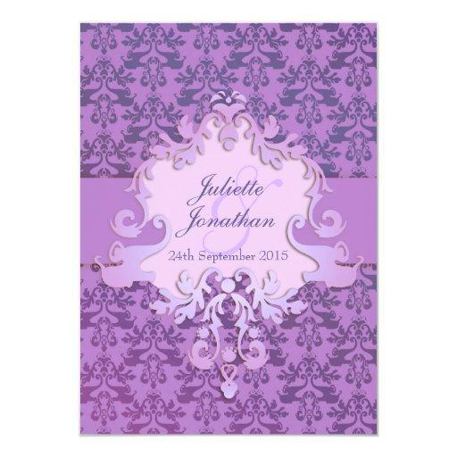 """Elegant Purple Wedding Invitations: Elegant Elephant Damask Purple Wedding Invitation 4.5"""" X 6"""