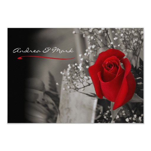 Wedding Invitations Red White And Black: Elegant Fade Out Red Rose Black And White Wedding 3.5x5