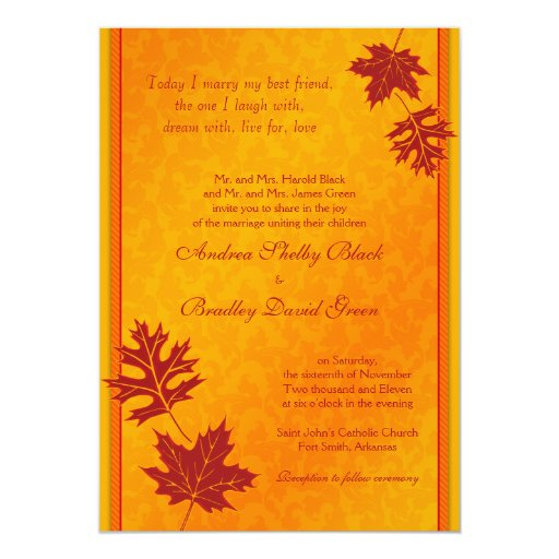 Elegant Fall Leaves Wedding Invitation | Zazzle