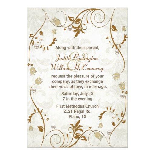 "Elegant Fall Color Wedding Inviation: Elegant Fall Wedding Invitation 5"" X 7"" Invitation Card"
