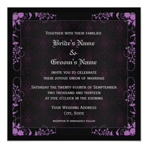 Elegant Purple Wedding Invitations: Elegant Floral Black And Purple Damask Wedding Invitation