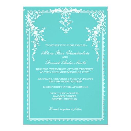 Tiffany Wedding Invitations: Elegant Formal Wedding Invitation, Tiffany Blue Card