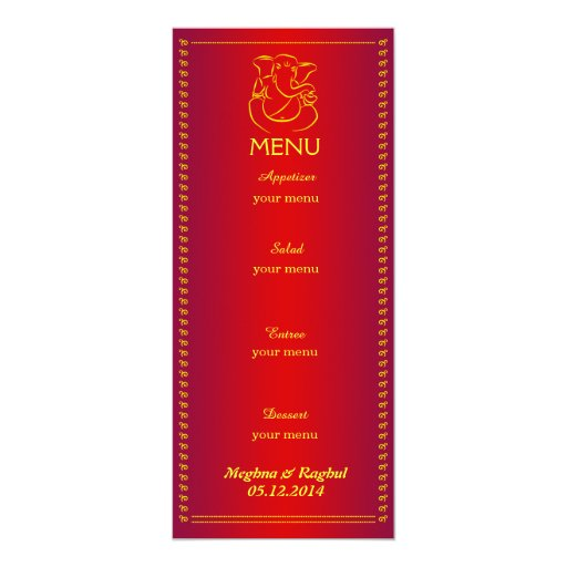 Indian Wedding Reception Food Menu: Indian Wedding Red Menu Card