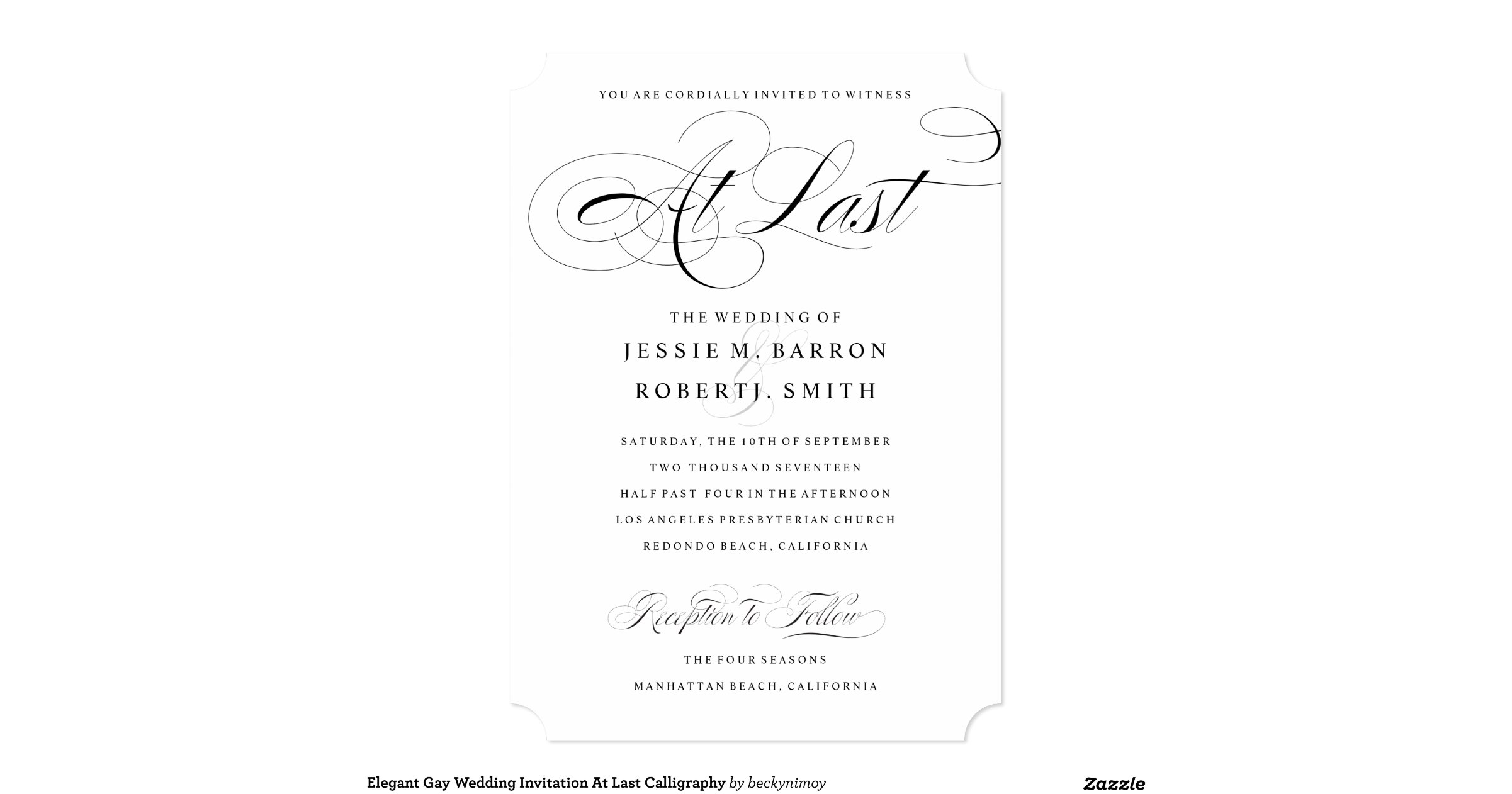 Gay Marriage Wedding Invitations: Elegant Gay Wedding Invitation At Last Calligraphy