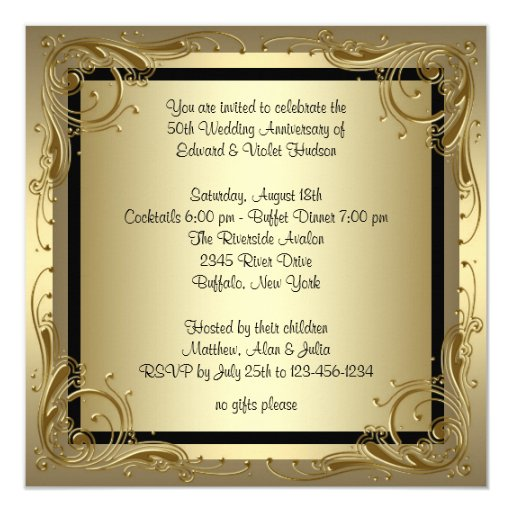 50th Wedding Anniversary Invitation Ideas: Elegant Gold 50th Wedding Anniversary Party Invitation