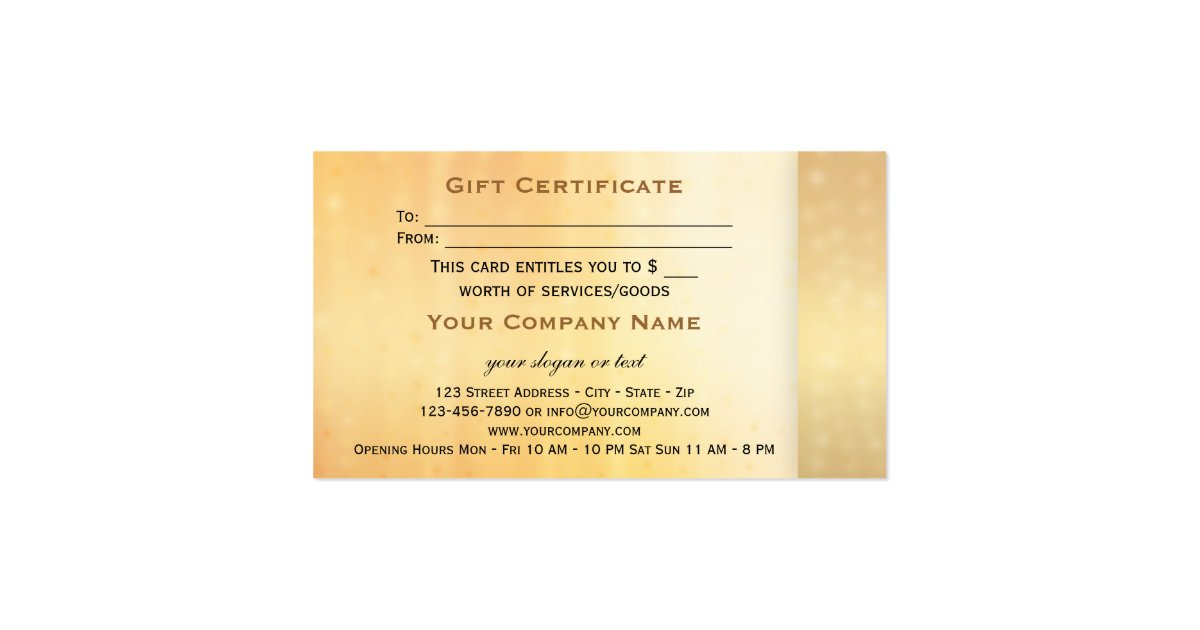Elegant Gold Bokeh Gift Certificate Template Business Card ...