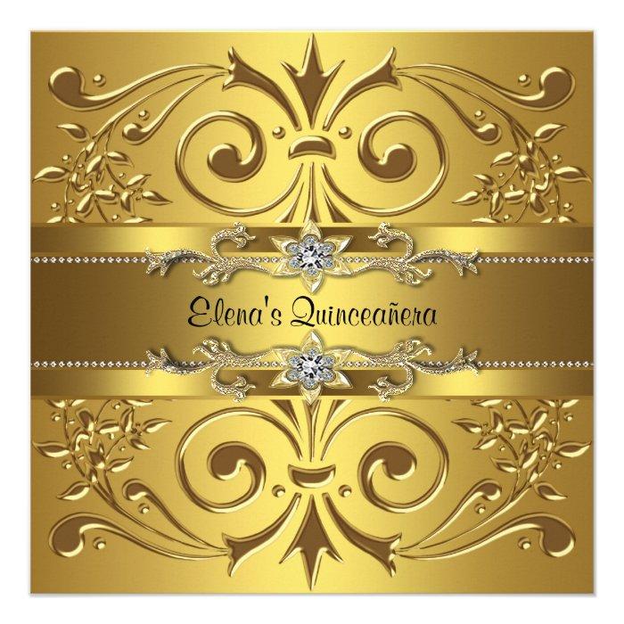 invitation template this elegant gold quinceanera invitation