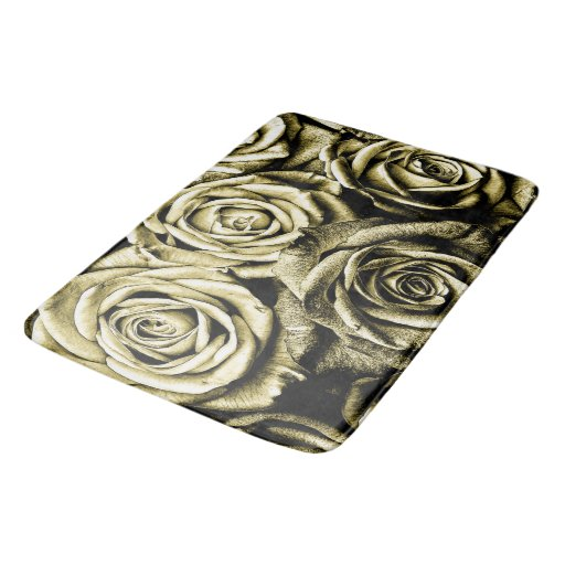 Elegant Bathroom Rose: Elegant Gold Roses Bathroom Mat