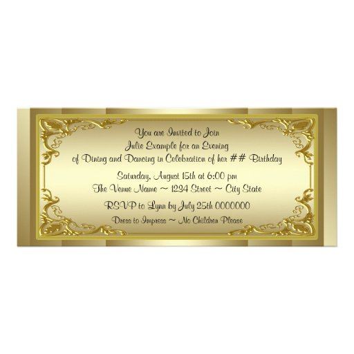 elegant golden ticket birthday party paper