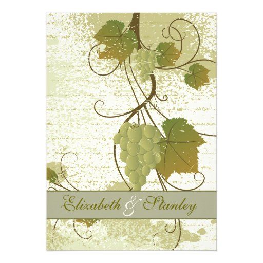"Elegant Fall Color Wedding Inviation: Elegant Grapevine Fall Wedding Invitation 5"" X 7"