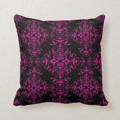 Elegant Sofa Pillows: Elegant Hot Pink And Black Victorian Style Damask Throw