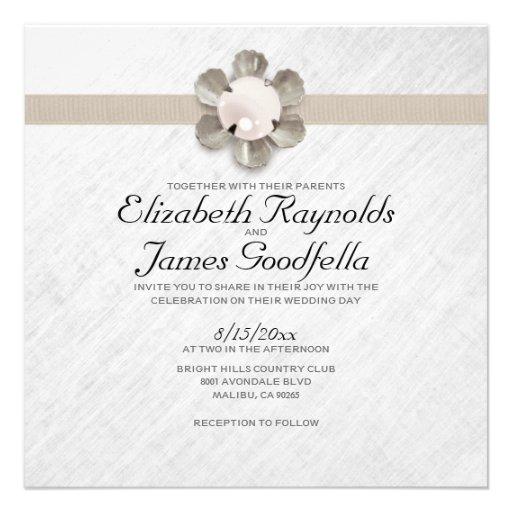 Pearl And Lace Wedding Invitations: Elegant Lace And Pearl Wedding Invitations Personalized