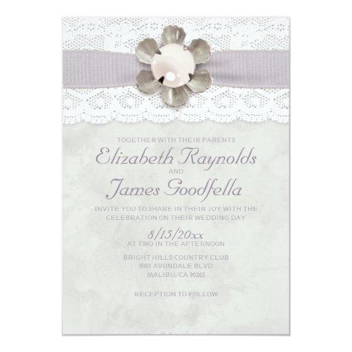 Pearl And Lace Wedding Invitations: Elegant Lace And Pearls Wedding Invitations