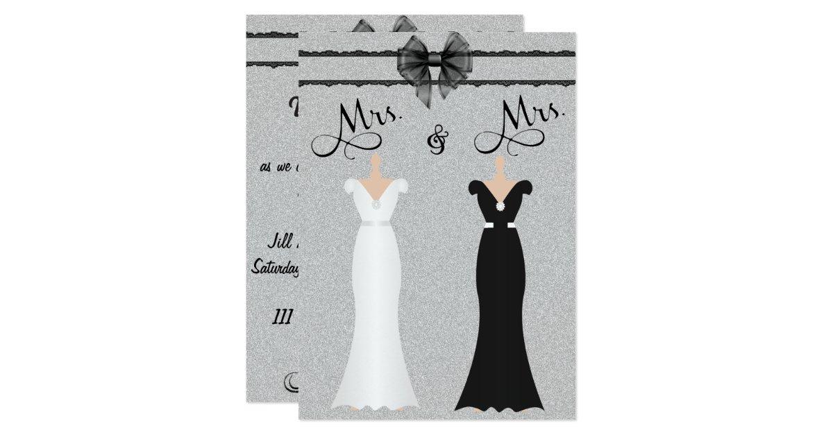 Lgbt Wedding Invitations: Elegant Lesbian Gay Two Brides Wedding Invitation
