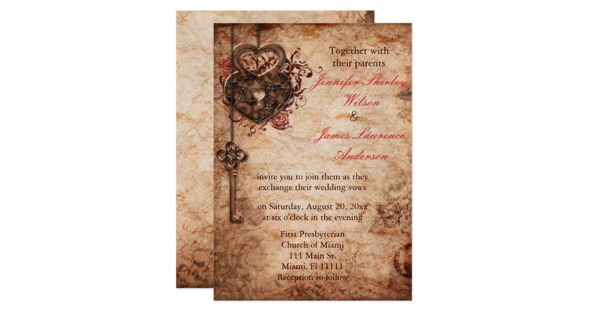 Key Themed Wedding Invitations: Elegant Lock And Key Wedding Invitation