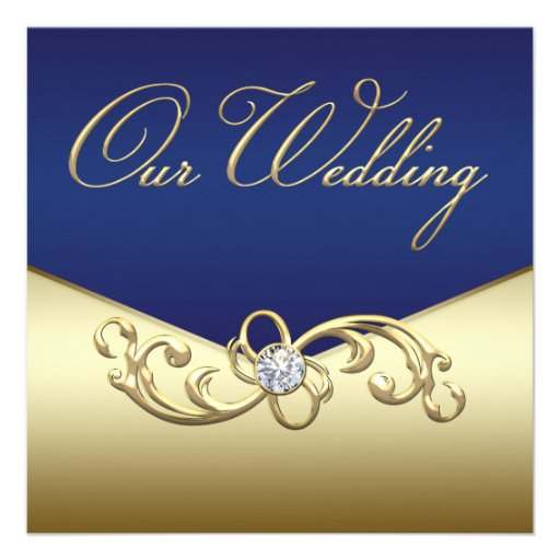 Gold And Blue Wedding Invitations: Elegant Navy Blue And Gold Wedding 5.25x5.25 Square Paper